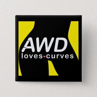 AWD Liebe-Kurven-gelber Knopf Quadratischer Button 5,1 Cm