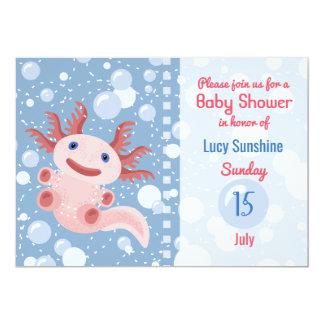 Axolotl und die Blasen - blaues Wasser-Babyparty Karte