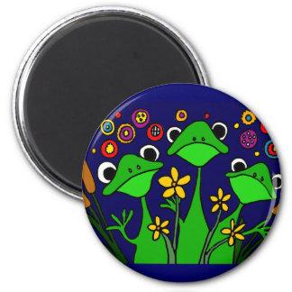 AY- conception drôle d'art populaire de grenouille Magnet Rond 8 Cm