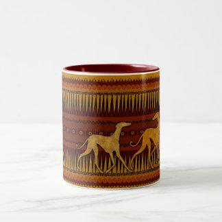 Azawakhs-Becher stilisiert Zweifarbige Tasse