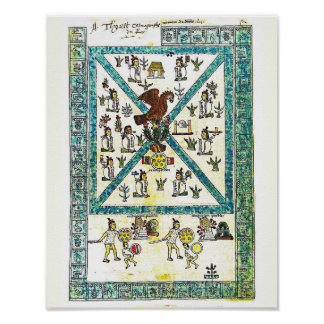 Aztekische Kunst-Kodex Mendoza Abdeckungskopie, Poster