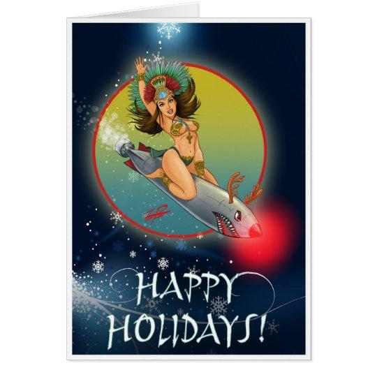 Aztekische Torpedo-Mädchen-Feiertags-Karte Grußkarte