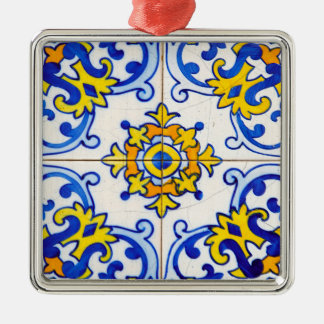Azulejo Platten-Fliesen Silbernes Ornament
