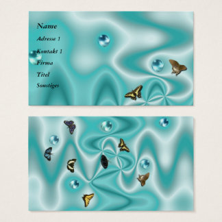 Azur Seide mit Perlen und Schmetterling Visitenkarte