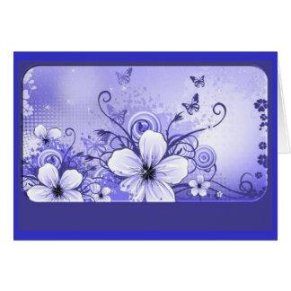 Azurblaue blaue Blumenanmerkungs-Karte Karte