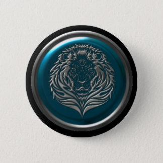Azurblaues Eisen-keltischer Löweknopf Runder Button 5,7 Cm