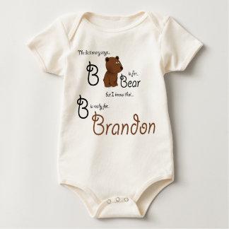 B ist für Brandon, Baby-Bärn-T-Stück Baby Strampler
