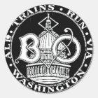 B+O-Königsblau-Linie bildet runden Aufkleber 1910