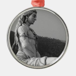 B&W Shiva Rundes Silberfarbenes Ornament