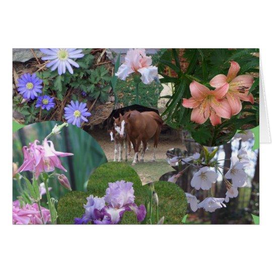 BA Pferd und Blumencollage Mitteilungskarte