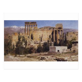 Baalbek. Ruinen von Jupiter-Kathedrale und von Postkarte