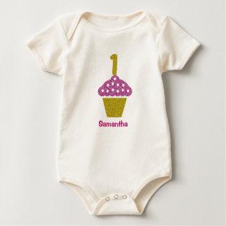 Baby-1. Geburtstag mit Glitter-Kuchen-Bodysuit Baby Strampler
