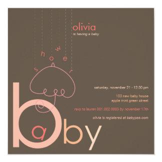 """Baby """"a"""" b-Mädchen-Rosa-in der niedlichen Quadratische 13,3 Cm Einladungskarte"""