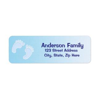 Baby-Abdruck-blaues Adressen-Etikett Rücksendeetiketten