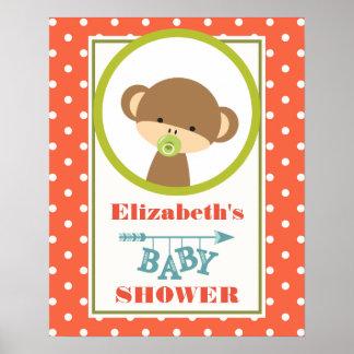 Baby-Affe mit einer Schnuller-Baby-Dusche Poster