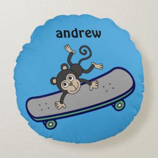 Baby Affe-ReitSkateboards Rundes Kissen