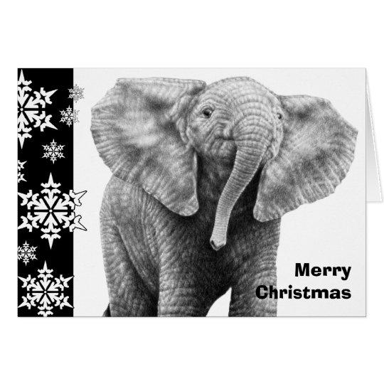 Baby-afrikanischer Elefant-Weihnachtskarte Grußkarte