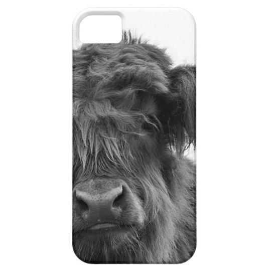 Baby animal highland cow portrait b/w phone case