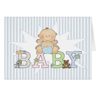 Baby auf blauer gestreifter Hintergrund-Raum-neuem Karte