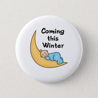 Baby auf Mond-Winter Runder Button 5,7 Cm