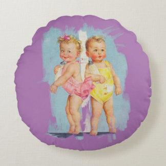 Baby/Baby - kundengerechter Hintergrund Rundes Kissen