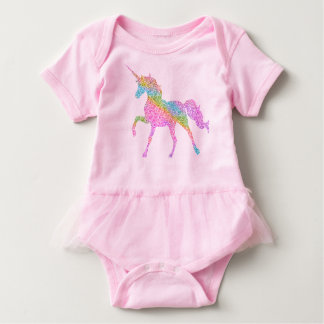 Baby-Ballettröckchen-Bodysuit - Regenbogen-Einhorn Baby Strampler