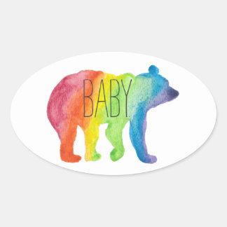 Baby-Bärn-Aquarell-Familien-Stolz-Aufkleber Ovaler Aufkleber