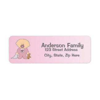 Baby Blankie rosa Adressen-Etikett Rückversand-Adressaufkleber