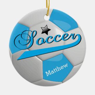 Baby-Blau-Fußball-Stern-Spieler | personifizieren Rundes Keramik Ornament