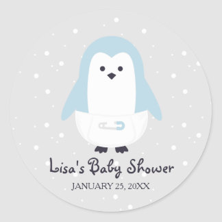 Baby-Blau-Pinguin-Babyparty-Aufkleber Runder Aufkleber
