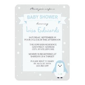Baby-Blau-Pinguin-Babyparty-Einladung Karte