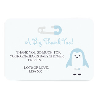 Baby-Blau-Pinguin danken Ihnen 8,9 X 12,7 Cm Einladungskarte