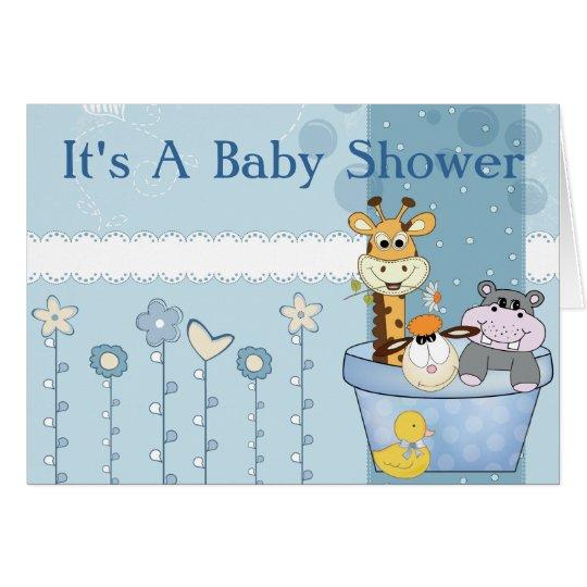 Baby-Blau punktiert Tier-Blumen-Baby-Dusche Mitteilungskarte