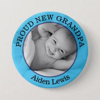 Baby-blauer stolzer neuer großväterlicher Knopf Runder Button 7,6 Cm