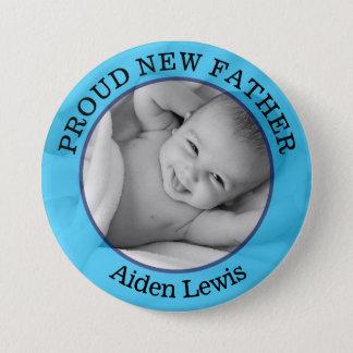 Baby-blauer stolzer neuer Vater-Knopf Runder Button 7,6 Cm