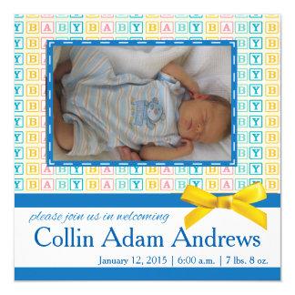 Baby-Block-Mitteilungs-Foto-Karte Quadratische 13,3 Cm Einladungskarte