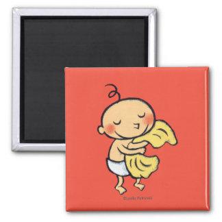 Baby, das weiche gelbe Decke umarmt Quadratischer Magnet