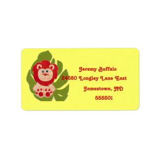 Baby-Dschungel-Löwe-Rücksendeadresse-Aufkleber Adressaufkleber
