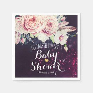 Baby-Dusche Boho Blumenfeder lila Bokeh Licht Papierserviette