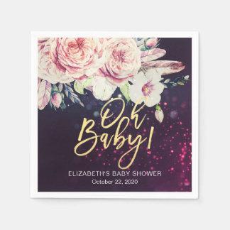 Baby-Dusche Boho Blumenfeder lila Bokeh Licht Serviette