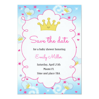 Baby-Dusche Prinzessin-Butterfly Save the Date Karte
