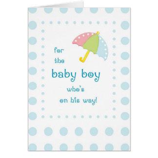 Baby-Dusche, Regenschirm mit blauen Punkten Karte