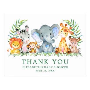 Baby Dusche Wasserfarben Safari Tiere Danke Postkarte