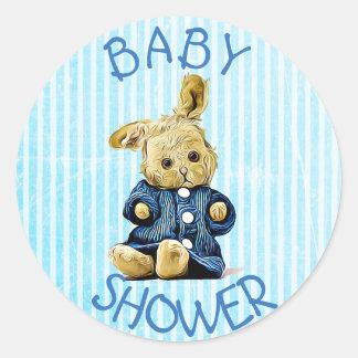 Baby-Duschen-blaue Vintage Kaninchenaufkleber Runder Aufkleber