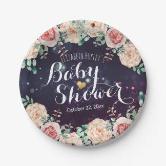 Baby-Duschen-elegante lila Schein-mit Pappteller