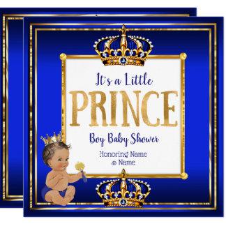 Baby-Duschen-königliches Blau-Gold brünettes DK Karte
