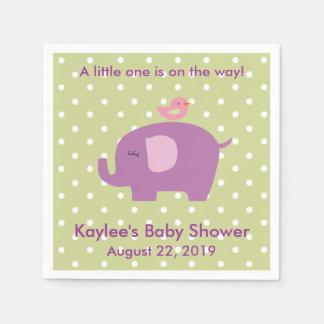 Baby-Duschen-lila Elefant-Polka-Punkt-Servietten Papierserviette