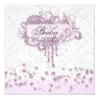 Baby-Duschen-Mädchen-Marmor-Rosa-GlitterConfetti Karte