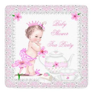 Baby-Duschen-Mädchen-Tee-Party Prinzessin-Pink Quadratische 13,3 Cm Einladungskarte