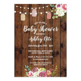 Baby-Duschen-Party-rustikale Glas-hölzerne Blumen Karte